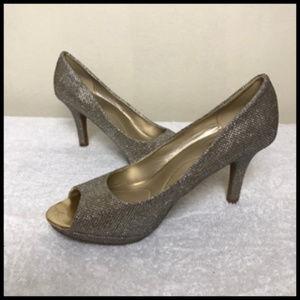 Sparkle Glitter Gold Mesh Peep Toe Heels Size 9M